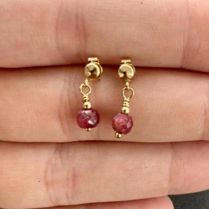 Ruby Dangle Earrings Natural 14KT G..