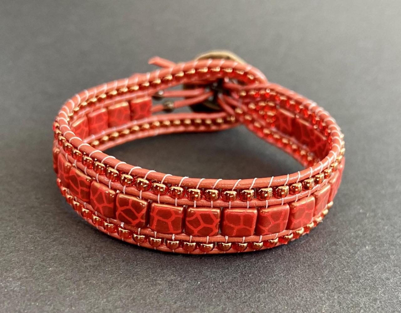 KIT Red Coral Giraffe Pattern Bracelet Cuff Leather 2-Holed Tile DIY Complete Instructions Crackled Bronze