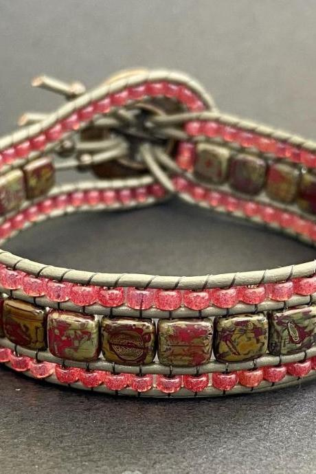 Red Coral Pomegranate Bracelet Cuff Leather Picasso Button Bronze