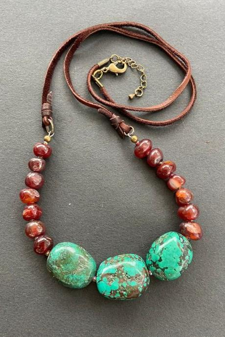 Turquoise Nugget Southwest Blue Green Necklace Statement Chunky Western Agate Carnelian Leather Suede Long Boho Adjustable
