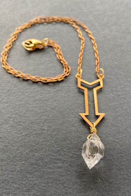 Herkimer Diamond Brass Down Arrow Double Terminated Quartz Crystal Point New Direction Gold