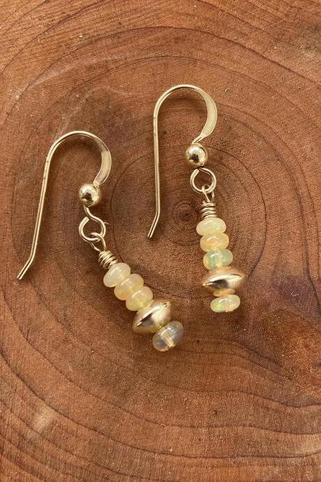 Opal Dangle Earrings Natural 14kt Gold Filled Saucer Smooth Rondelle