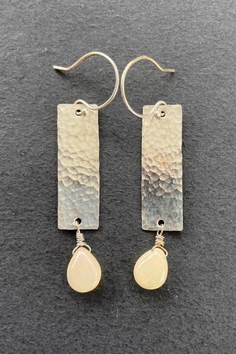 Opal Long Rectangle Drop Dangle Brass Patterned Earrings Earthy Natural Boho Tooled Leather Western 14kt Gold Filled