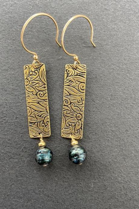 Long Rectangle Drop Dangle Brass Patterned Earrings Earthy Natural Boho Tooled Leather Western 14kt Gold Filled Teal Faceted Pearl