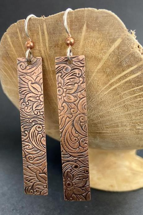 Long Rectangle Drop Dangle Copper Patterned Earrings Earthy Natural Boho Tooled Leather Western