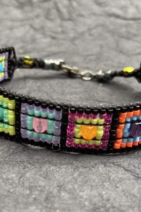 Kandinsky Color Study Squares Inspired Loom Bracelet Modern Bright Black Rainbow