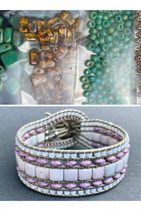 KIT Persian Turquoise Picasso Brown Wide Leather Beaded Cuff Kit by Leila Martin Bohemian DIY Intermediate Instructions Complete NO Tools