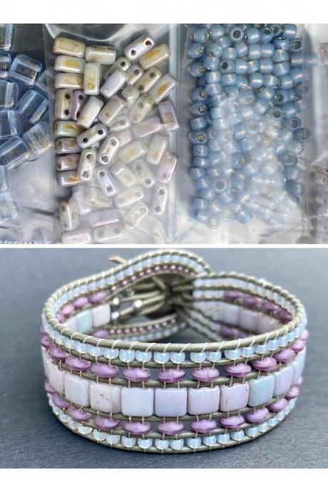 KIT Pale Blue Picasso Gray Wide Leather Beaded Cuff Kit by Leila Martin Bohemian DIY Intermediate Instructions Complete NO Tools
