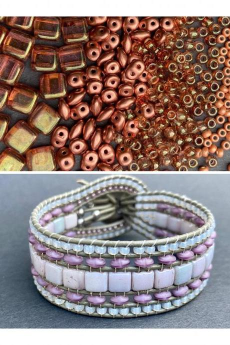 KIT Rose Gold Topaz Copper Wide Leather Beaded Cuff Kit by Leila Martin Bohemian DIY Intermediate Instructions Complete NO Tools