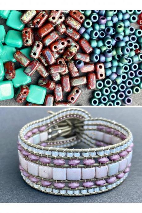 KIT Picasso Coral Teal Metallic Wide Leather Beaded Cuff Kit by Leila Martin Bohemian DIY Intermediate Instructions Complete NO Tools