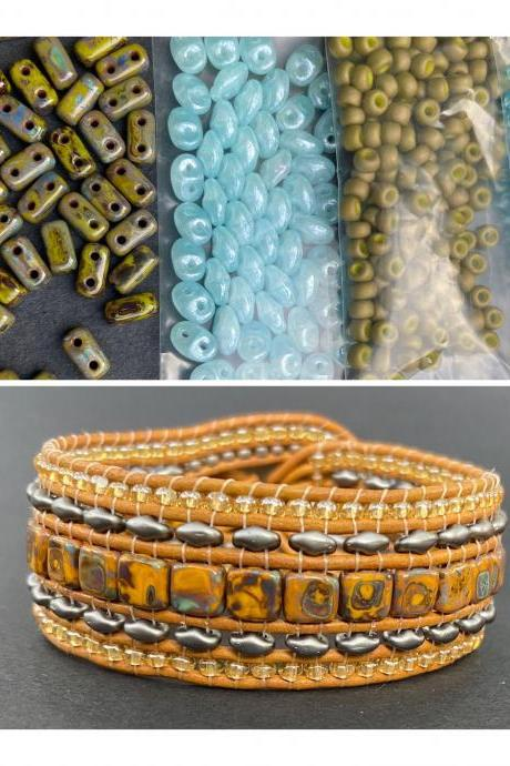 KIT Olive Picasso Blue Wide Leather Beaded Cuff Kit by Leila Martin Bohemian DIY Intermediate Instructions Complete NO Tools