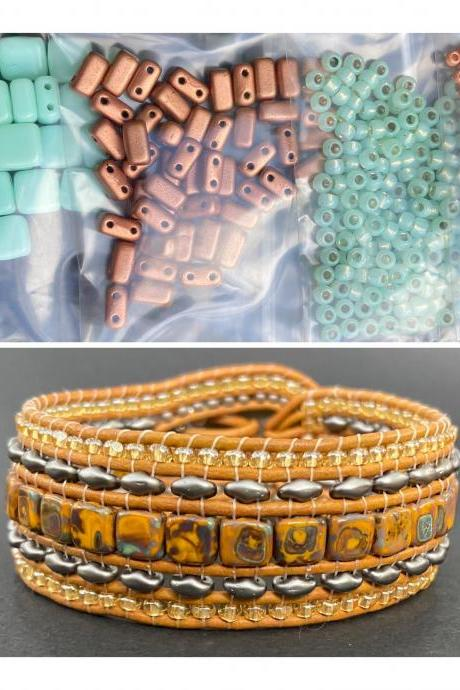 KIT Mint Copper Wide Leather Beaded Cuff Kit by Leila Martin Bohemian DIY Intermediate Instructions Complete NO Tools