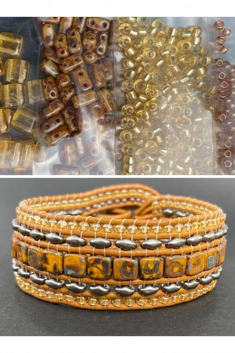 KIT Picasso Brown Topaz Wide Leather Beaded Cuff Kit by Leila Martin Bohemian DIY Intermediate Instructions Complete NO Tools