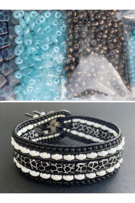 KIT Blue Nutmeg Crackled Wide Leather Beaded Cuff Kit by Leila Martin Bohemian DIY Complete Kit with Tutorial NO Tools