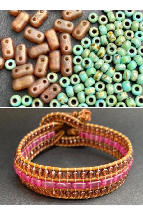 KIT Seafoam Picasso Rust Brown Bracelet Cuff Leather 2-Holed Brick DIY Complete Instructions