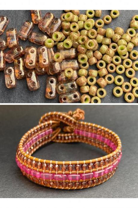 KIT Pink Rose Rust Olive Gold Luster Bracelet Cuff Leather 2-Holed Brick DIY Complete Instructions