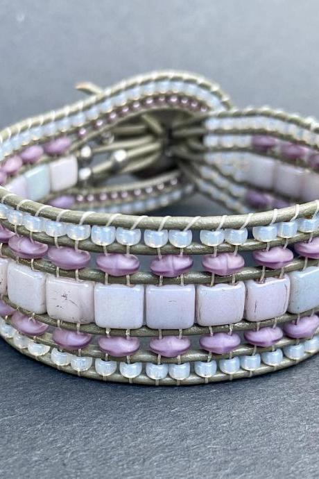 KIT Picasso Purple Wide Leather Beaded Cuff Kit by Leila Martin Bohemian Silver Gray DIY Intermediate Instructions Complete NO Tools #42