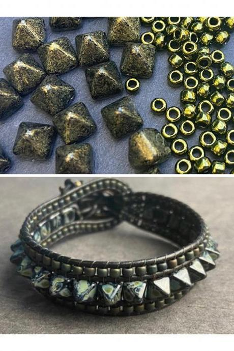 KIT Punk Spike Bracelet Cuff Leather 2-Holed 6x6mm Pyramid Beads Olive Green Black #56
