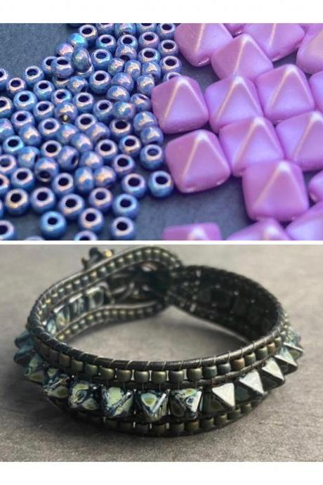KIT Punk Spike Bracelet Cuff Leather 2-Holed 6x6mm Pyramid Beads Purple Blue #51