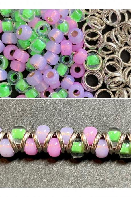 KIT Pink Purple Opal Green Zig Zag Silver Bracelet DIY Easy Beginner No Tools Silver Button