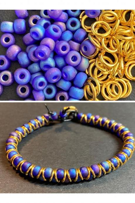 KIT Zig Zag Bracelet Cobalt Blue Purple AB Rainbow Gold Glass DIY Beginner Easy Button