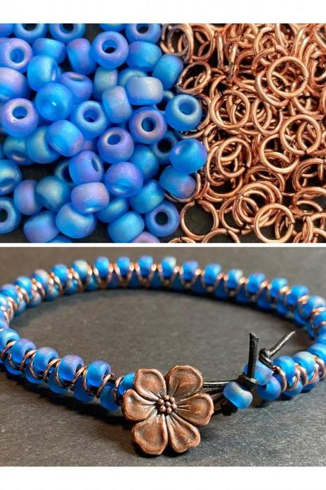 KIT Zig Zag Bracelet Capri Blue AB Rainbow Copper Glass DIY Beginner Easy Flower Button