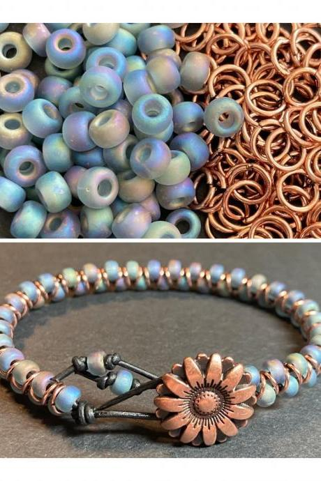 KIT Zig Zag Bracelet Gray AB Rainbow Copper Flower Glass DIY Beginner Easy Button