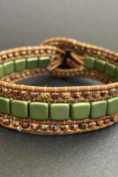 KIT Green Olive Brown Tan Picasso Bracelet Cuff Leather 2-Holed Tile DIY Complete Instructions