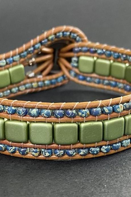 KIT Green Olive Montana Navy Picasso Bracelet Cuff Leather 2-Holed Tile DIY Complete Instructions