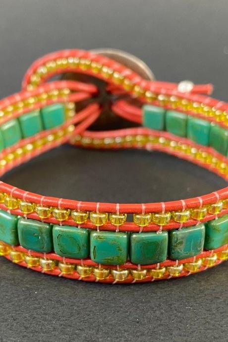 KIT Persian Turquoise Picasso Green Bracelet Cuff Leather 2-Holed Tile DIY Complete Instructions Coral Peridot
