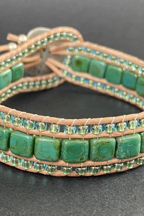 KIT Persian Turquoise Picasso Green Bracelet Cuff Leather 2-Holed Tile DIY Complete Instructions