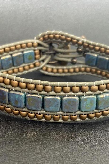 KIT Antique Bronze Turquoise Bracelet Cuff Leather 2-Holed Tile DIY Complete Instructions
