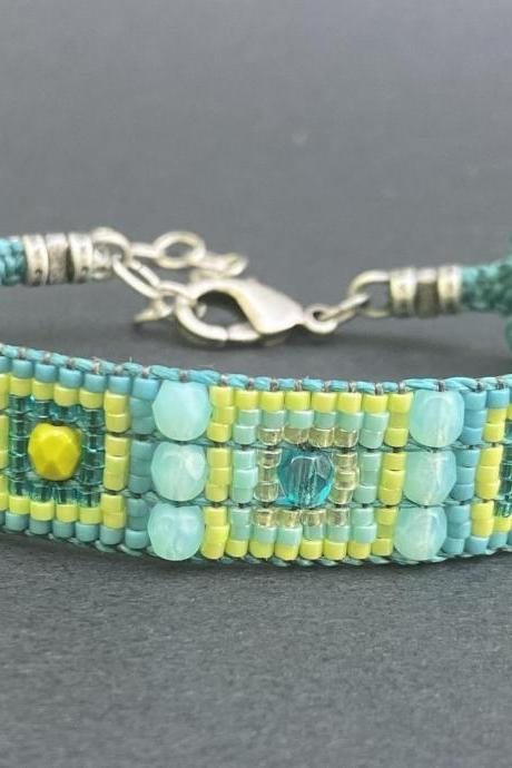Bracelet KIT Caribbean Loom Bracelet Kit DIY Beginner Complete with Jewel Loom Lime Teal Turquoise Ocean
