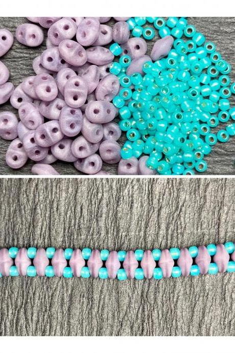 Kit Turquoise Blue Purple Simple SuperDuo Bracelet Easy No Tools Needed Mix DIY Beginner Fun Disney Princess Bounding Jasmine Aladdin