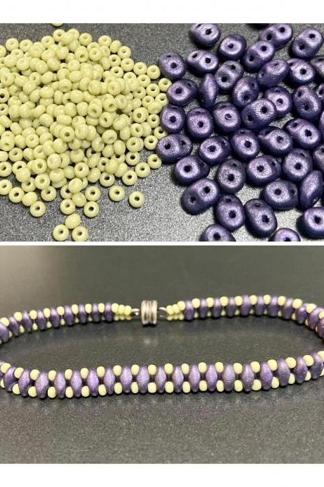 Kit Purple Suede Celadon Pale Green Simple SuperDuo Bracelet Easy No Tools Needed Mix DIY Beginner Fun