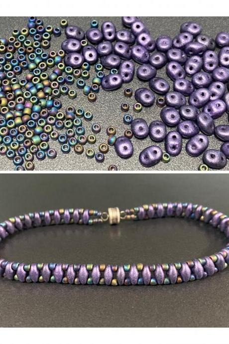 Kit Purple Suede Iris Simple SuperDuo Bracelet Easy No Tools Needed Mix DIY Beginner Fun