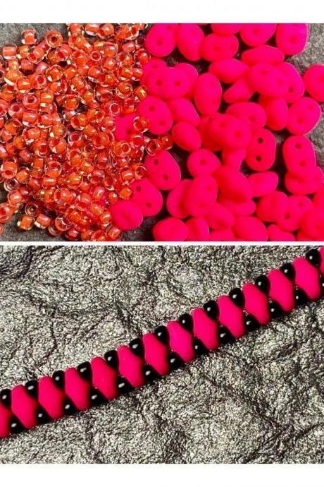Kit Neon Hot Pink Coral Orange Simple SuperDuo Bracelet Easy No Tools Needed Mix DIY Beginner Fun