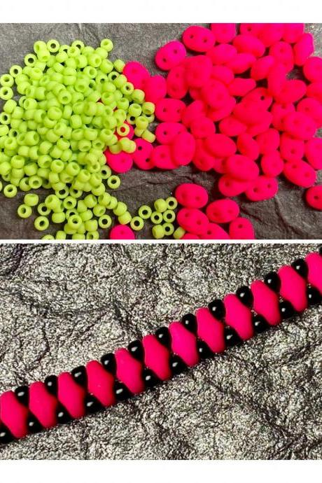 Kit Neon Hot Pink Lime Green Simple SuperDuo Bracelet Easy No Tools Needed Mix DIY Beginner Fun