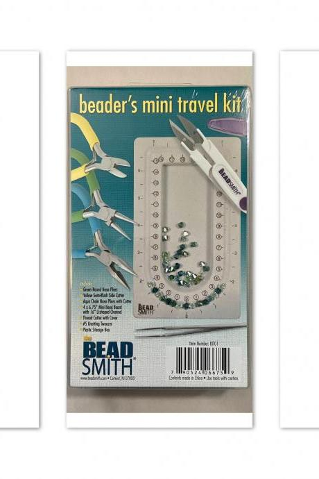 Mini Beadsmith Beader's Travel Kit Tool Set Color ID Pliers Round Nose Side Cutter Chain Nose Needle Nose