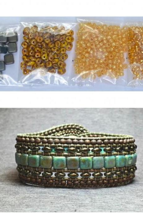 KIT Wide Leather Beaded Cuff Bonny Mustard Picasso Gray Intermediate Instructions Complete NO Tools #26