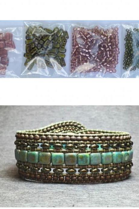 KIT Wide Leather Beaded Cuff Bonny Olive Picasso Rose Plum Opal Intermediate Instructions Complete NO Tools #23