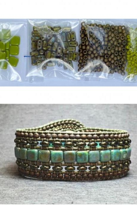 KIT Wide Leather Beaded Cuff Bonny Olive Picasso Chartreuse Intermediate Instructions Complete NO Tools #22