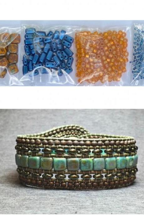 KIT Wide Leather Beaded Cuff Bonny Mustard Picasso Royal Blue Intermediate Instructions Complete NO Tools #20