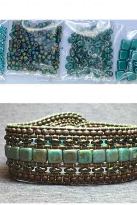KIT Wide Leather Beaded Cuff Bonny Tan Teal Intermediate Instructions Complete NO Tools #19