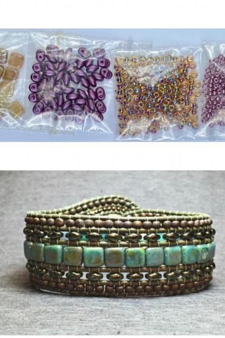 KIT Wide Leather Beaded Cuff Bonny Topaz Orchid Purple DIY Intermediate Instructions Complete NO Tools #18