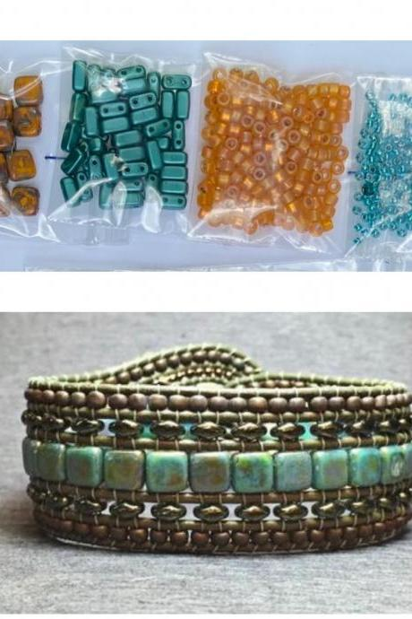 KIT Wide Leather Beaded Cuff Bonny Mustard Turquoise Picasso DIY Intermediate Instructions Complete NO Tools #17