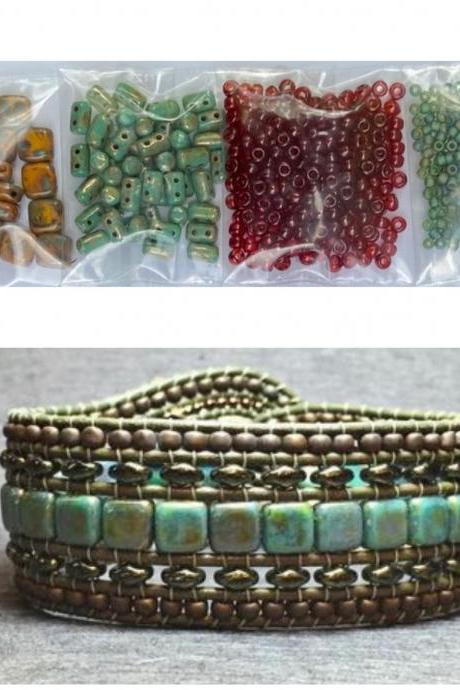 KIT Wide Leather Beaded Cuff Bonny Mustard Garnet Turquoise Picasso DIY Intermediate Instructions Complete NO Tools #15