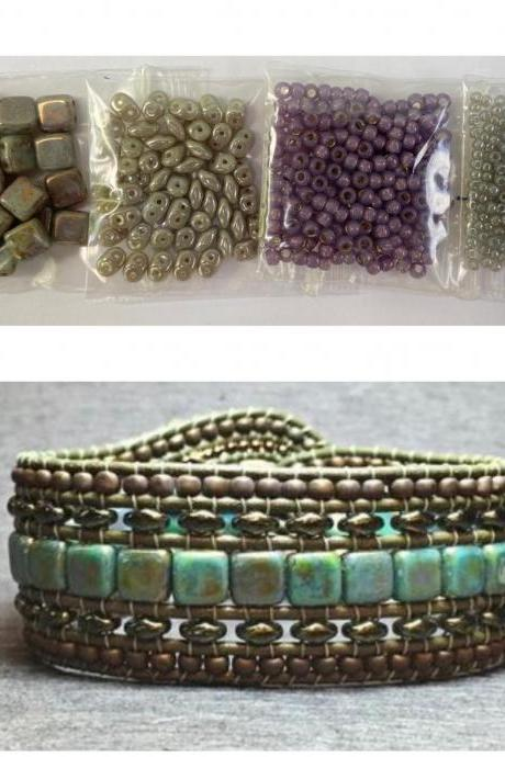 KIT Wide Leather Beaded Cuff Kit by Leila Martin Bonny Bohemian Gray Purple DIY Intermediate Instructions Complete NO Tools #13