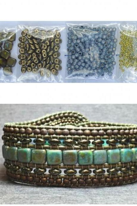 KIT Wide Leather Beaded Cuff Kit by Leila Martin Bonny Bohemian Olive Picasso Bronze DIY Intermediate Instructions Complete NO Tools #12