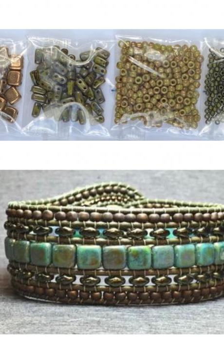 KIT Wide Leather Beaded Cuff Kit by Leila Martin Bonny Bohemian Olive Picasso Bronze DIY Intermediate Instructions Complete NO Tools #11